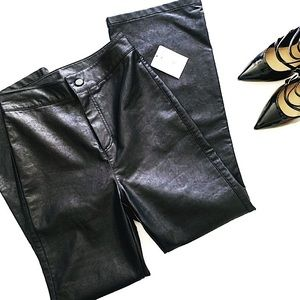 NWT FREE PEOPLE Sasha Crop Faux Leather Pants